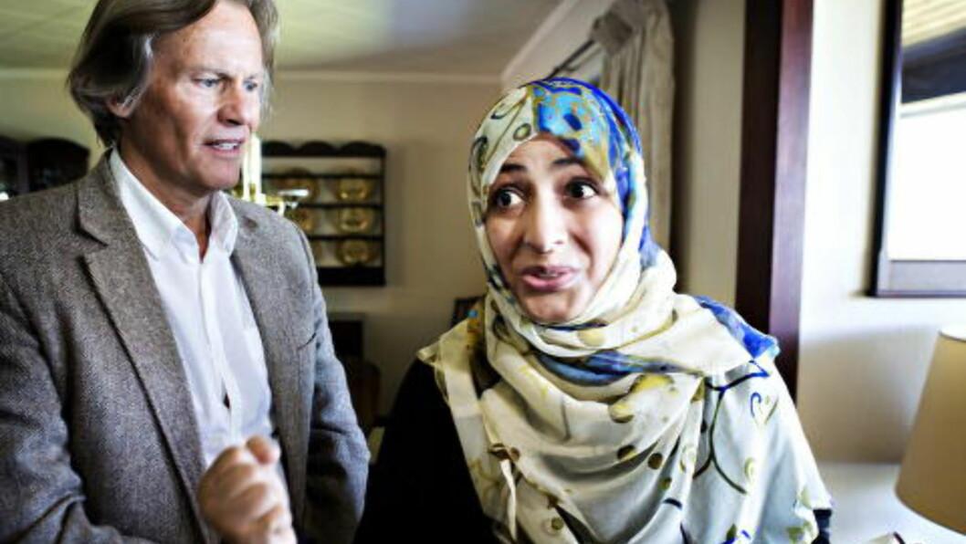 <strong>KONTAKTER:</strong> Odd Petter Magnussen har svært gode kontaker i Jemen, og fikk eksempelvis nylig besøk hjemme av fredsprisvinneren Tawakul Karman. Det misliker Farouks støttespillere. Foto: Nina Hansen / Dagbladet