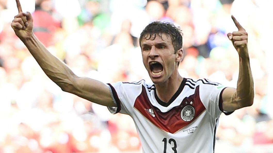 <strong>FARLIG:</strong> Thomas Müller har fem mål i VM så langt. Det samme scoret han i Sør-Afrika i 2010. Foto: NTB SCANPIX