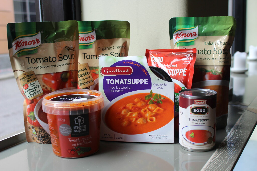 <b>TOMATSUPPE:</b> Følgende sju tomatsupper er testet, med varierende hell. Foto: ELISABETH DALSEG