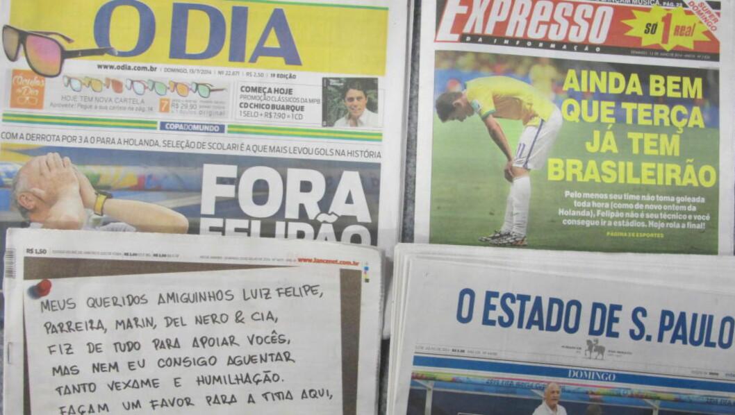 <strong>FØRSTESIDER:</strong>   Avisene i Brasil viser ingen nåde i dag. FOTO: TORE ULRIK BRATLAND