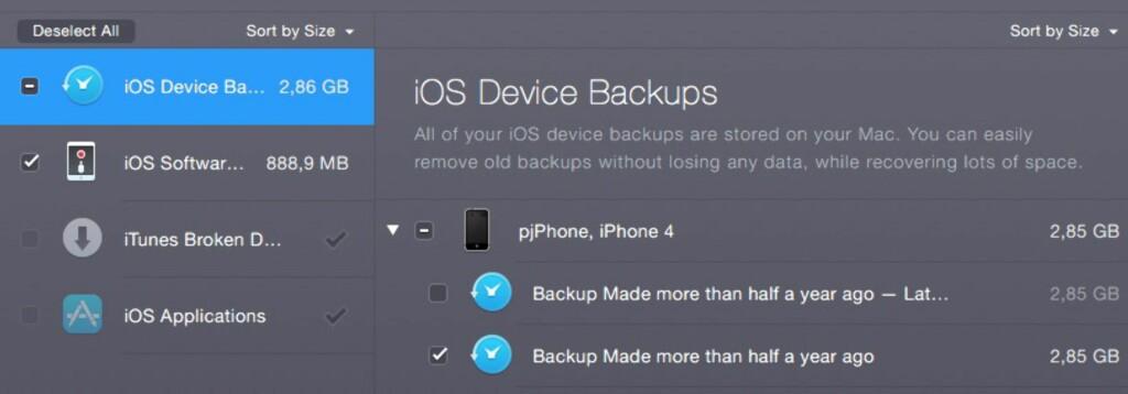 DOBBELT OPP: Her er et eksempel der CleanMyMac foreslår å slette den nest nyeste sikkerhetskopien av en gammel telefon.