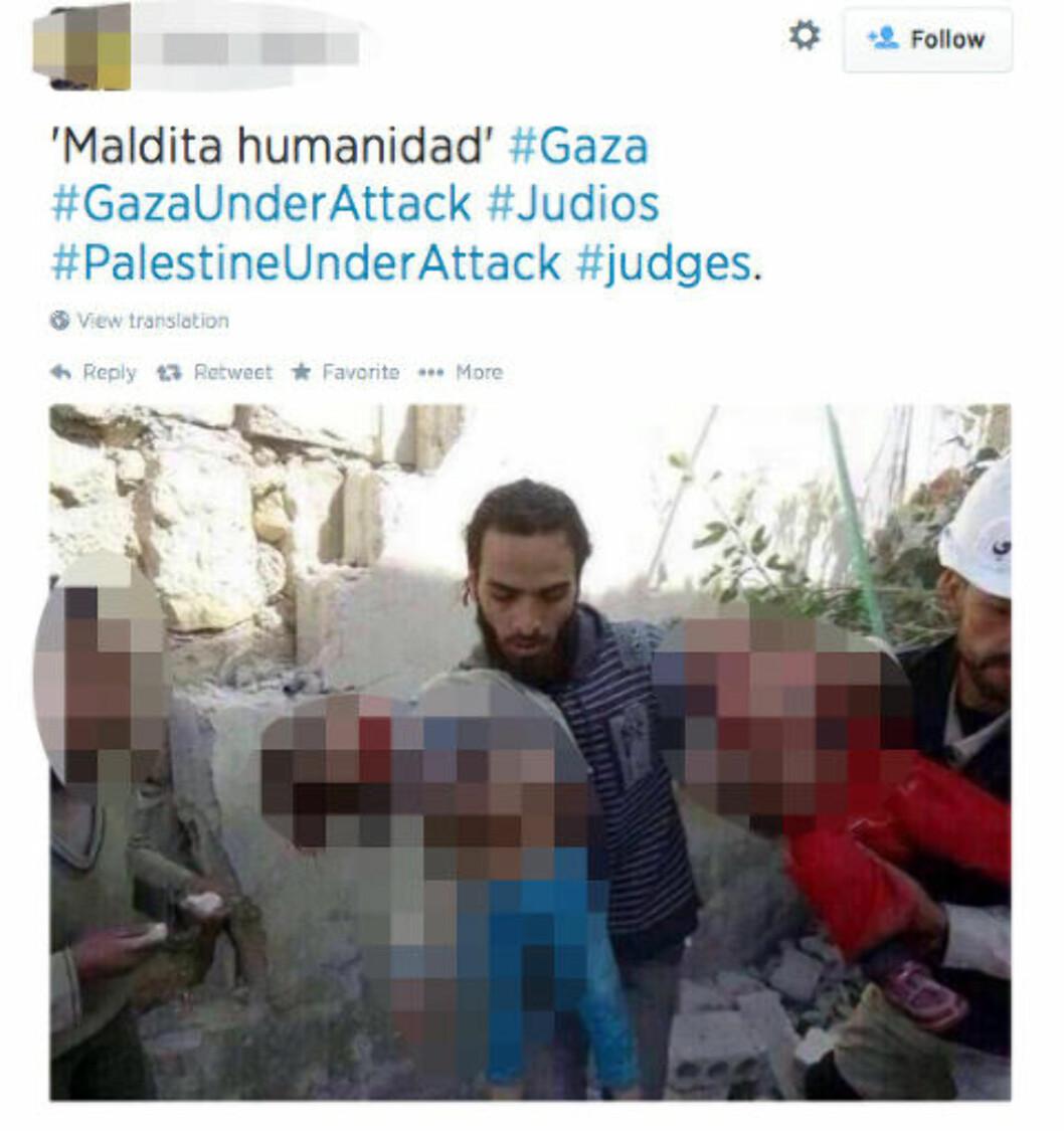 «GAZA UNDER ATTACK»...: ... står det skrevet til dette bildet. Men bildet er ikke fra konflikten i Gaza - men fra Syria i februar i fjor. Skjermdump: Twitter