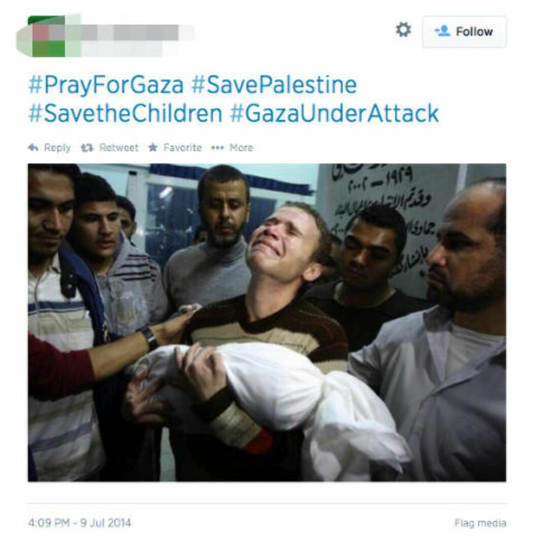 <strong>PRAY FOR GAZA:</strong> #SavePalestine står det skrevet til dette bildet, lagt ut og delt 9. juli i år. Men bildet er fra 2012. Bildet kjenner du kanskje igjen, fotografen vant pris for beste bilde i 2012. Skjermdump: Twitter