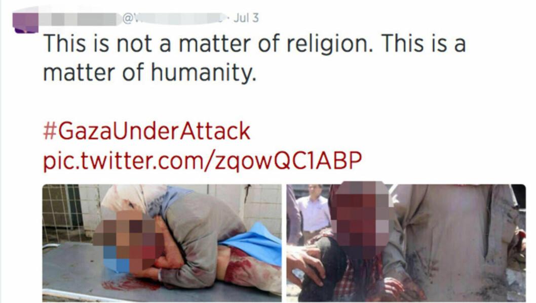 <strong>GRUSOMME:</strong> Bildene som deles i forbindelse med den pågående konflikten mellom Hamas og Israel, er grusomme - men bilder som disse stammer ikke fra riktig konflikt. Ifølge BBC er disse bildene - som er delt i år - fra Syria. Noen av bildene kan dateres tilbake til 2009. Skjermdump: Twitter
