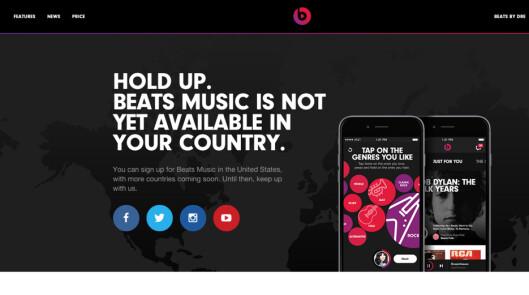 <B>INGEN ADGANG</b> Nå Apple-eide Beats Music er foreløpig stengt for nordmenn. Foto: BEATS MUSIC
