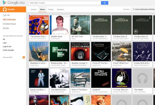 <strong><B>EGEN MUSIKK:</strong></B> Google lar deg bruke ditt eget musikkbibliotek overalt hvor du er. Men du kan også leie strømming av musikk du ikke har selv. Foto: GOOGLE
