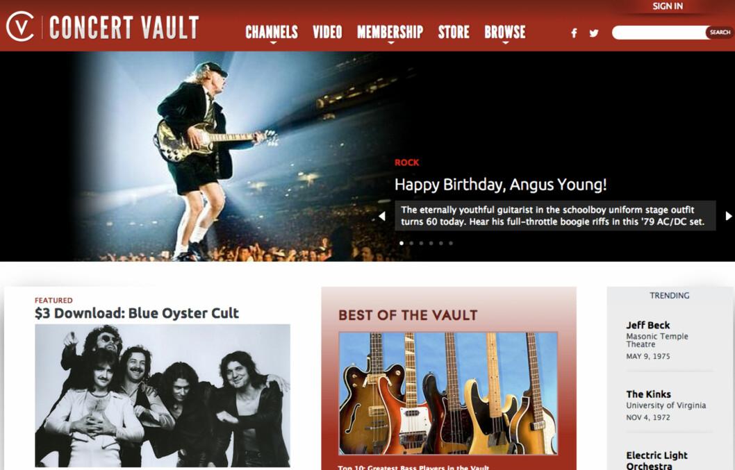 <strong><B>KONSERTER:</strong></b> Concert Vault er en gullgruve for de som elsker live-musikk fra rockens gullalder. Foto: CONCERT VAULT