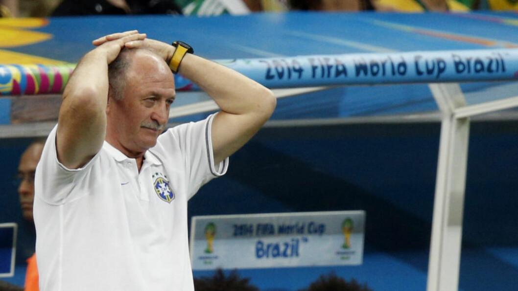 <strong>UTE:</strong> Brasils trener, Luiz Felipe Scolari, går av etter skuffende resultater i VM på hjemmebane. Foto: REUTERS/Ueslei Marcelino/Files