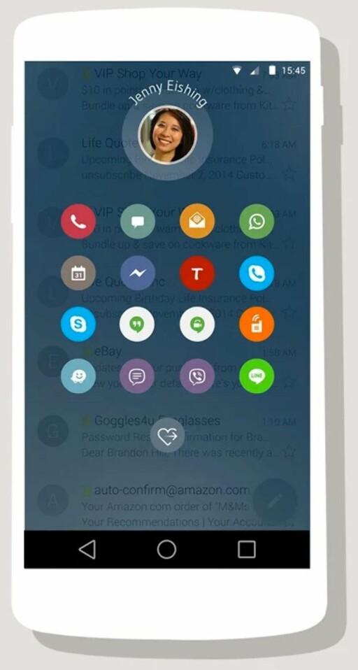 STØTTER FLERE: Ikke bare ringing og SMS –Drupe støtter både Skype, Viber, Facebook og mer til.