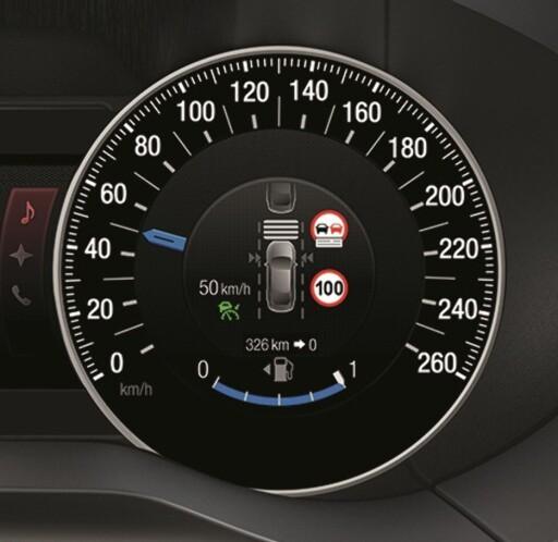 ALT-I-ETT: Inne i instrumentet vises nødvendig farts-informasjon og ønsket innstilling. Foto: FORD