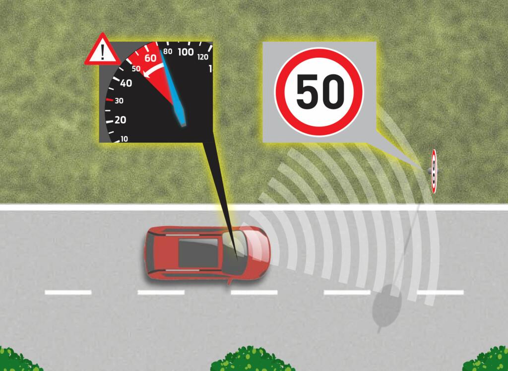«INTELLIGENT:» Bilen leser skiltet og gir beskjed til bremsene så hastigheten kan tilpasses i tide.  Foto: FORD