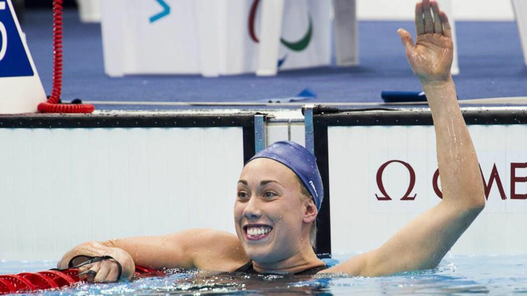 <strong>TILBAKE:</strong>  Gullgrossisten Sarah Louise Rung tok torsdag tilbake verdensrekorden på 100 meter bryst. Foto: J. EKSTRÖMER / NTB scanpix
