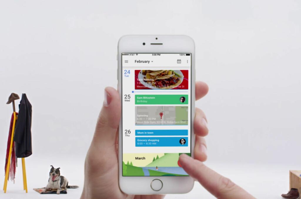 <b>LEKKER:</b> Googles kalenderapp tar seg bra ut på iPhone også. Foto: GOOGLE