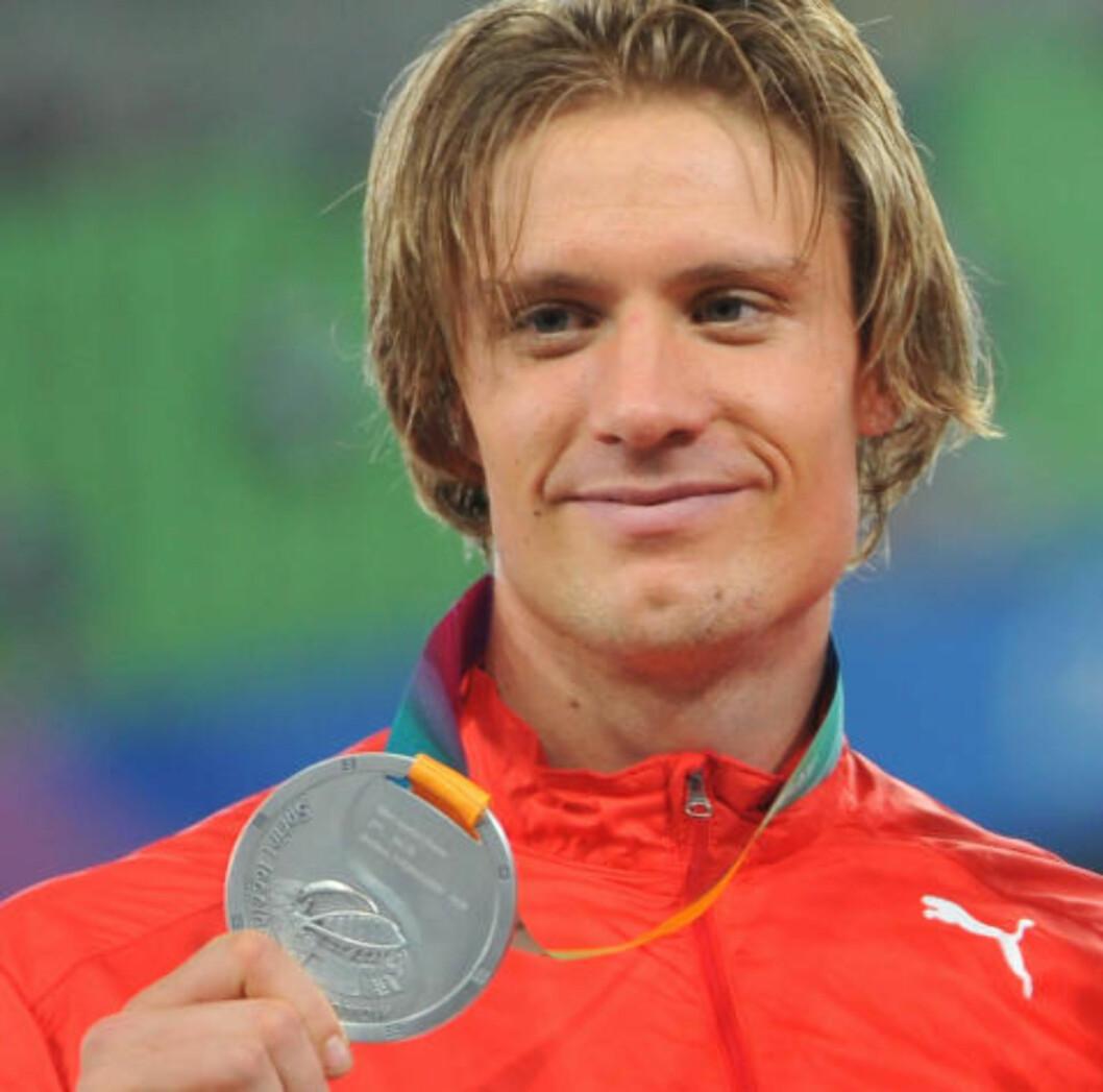 SISTE MEDALJE: Andreas Thorkildsen har ikke kommet på pallen i et mesterskap siden 2011. Da ble det VM-sølv. Foto: AFP  / KIM JAE-HWAN / NTB SCANPIX