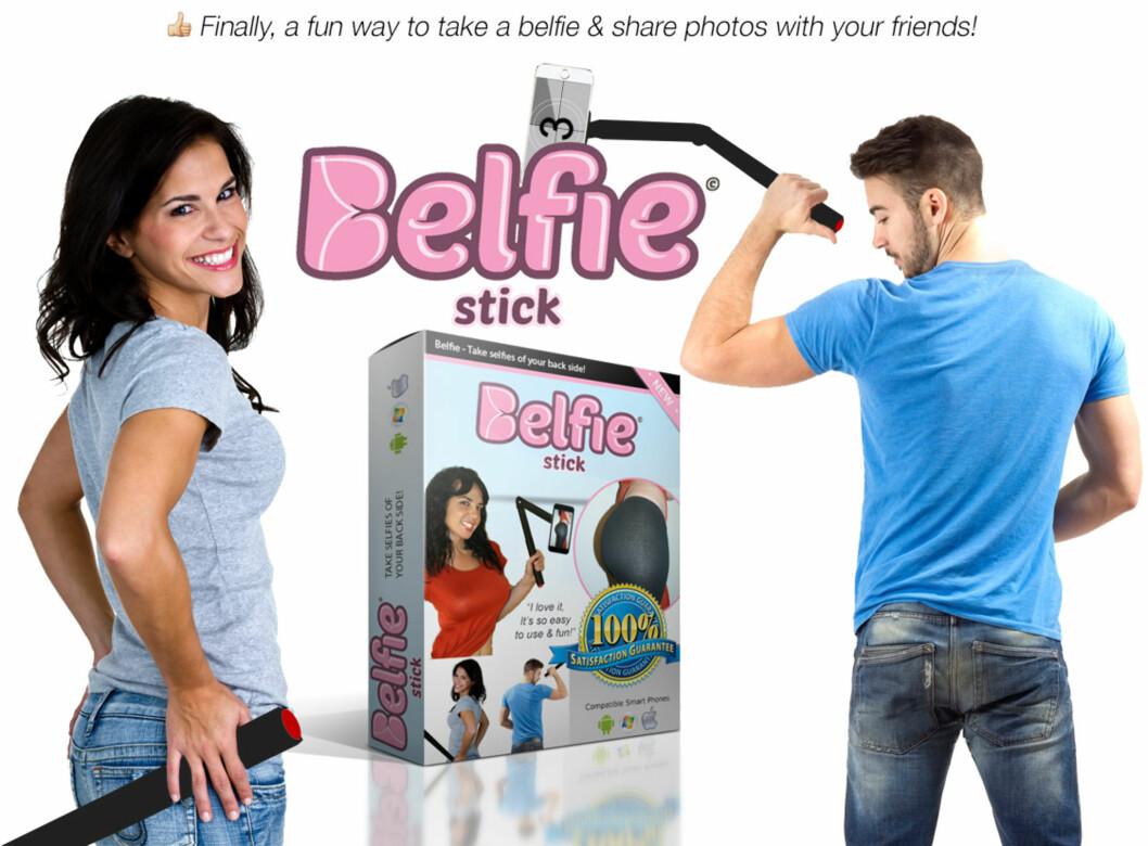 <strong><b>GLEM SELFIESTANGA:</strong></b> Belfiestanga skal visstnok gjøre det lettere å ta bilder av rumpa ... Foto: PRODUSENTEN