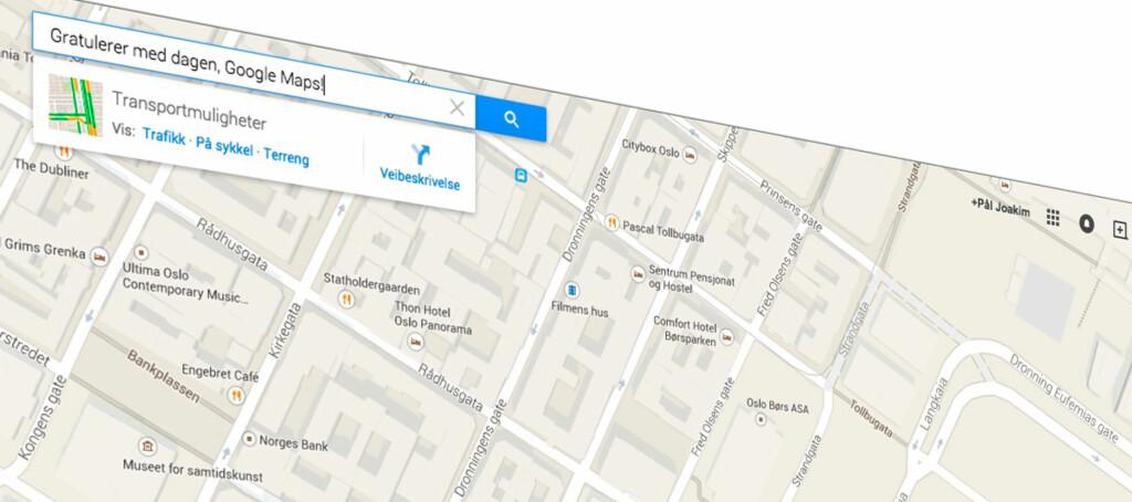 <b>TI ÅR:</b> I dag er det ti år siden Google Maps ble lansert. Foto: PÅL JOAKIM OLSEN