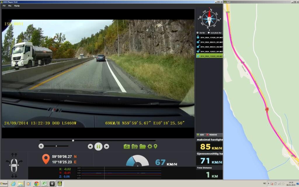 AVSPILLEREN: Legg inn medfølgende spiller på PCen. I tillegg til videoklippet viser den nøyaktige koordinater, om du akselererer, bremser eller svinger (nede til venstre), G-krefter i tre akser, (Nede) speedometer,gjennomsnittsfartm og kompass. Filene dras over i firkanten til høyre. I tillegg får du opp egen rute med googlemaps med blå stripe på strekningen du har kjørt på det aktuelle klippet. Foto: RUNE M. NESHEIM