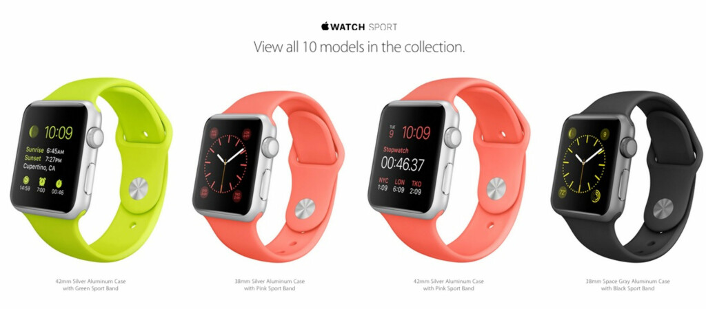 APPLE WATCH SPORT: 10 Ulike modeller. Foto: APPLE