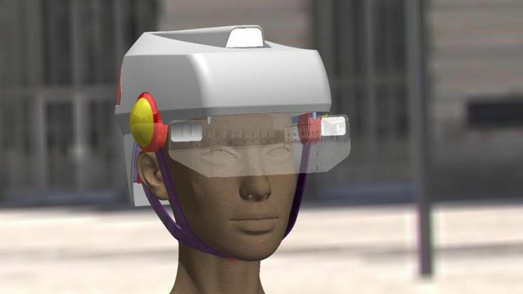 <strong><b>MED LYS OG LYKTER:</strong></b> Smart hjelm fra Toby King. (Heldigvis?) bare et konsept per i dag. Foto: SMART HAT