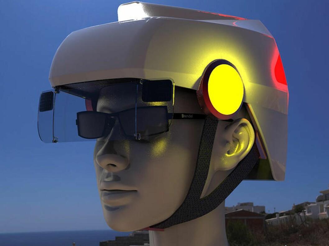 <strong><b>BREMSELYS OG BLINKERS:</strong></b> Hi-tec-hjelmen vil kanskje ikke bli noe mote-ikon, men ser jo ut til å bedre sikkerheten... Foto: SMART HAT