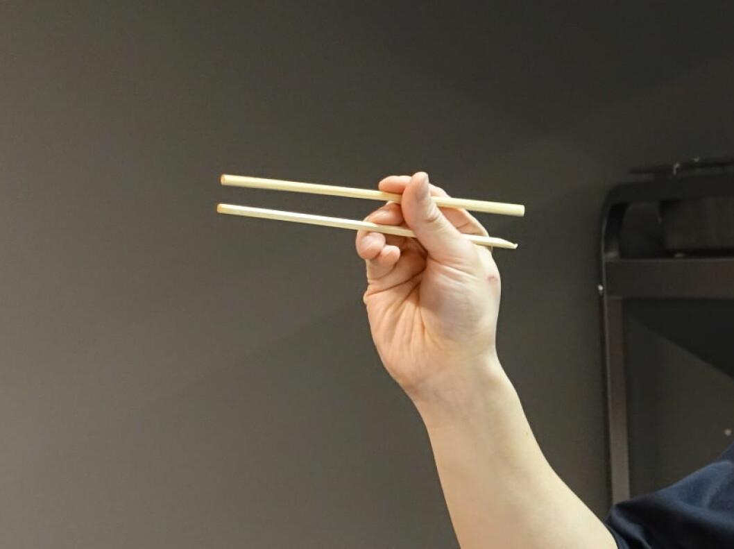 Den andre pinnen griper du mellom tommel- og pekefinger. Foto: ELISABETH DALSEG