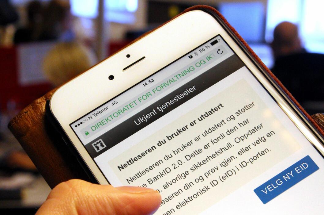 <strong><B>FEILMELDING:</strong> </B>Her er meldinga du fikk om du prøvde å bruke BankID sammen med iOS 8.2 akkurat nå. Foto: OLE PETTER BAUGERØD STOKKE