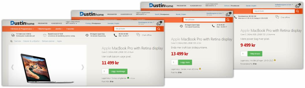 <strong><B>ULIKE PRISER:</strong> </B>Her er den samme Macbook Pro-en hos Dustin i Sverige, Norge og Danmark. Her er prisforskjellen markant: Rundt 20 prosent billigere i Sverige og Danmark. Foto: OLE PETTER BAUGERØD STOKKE