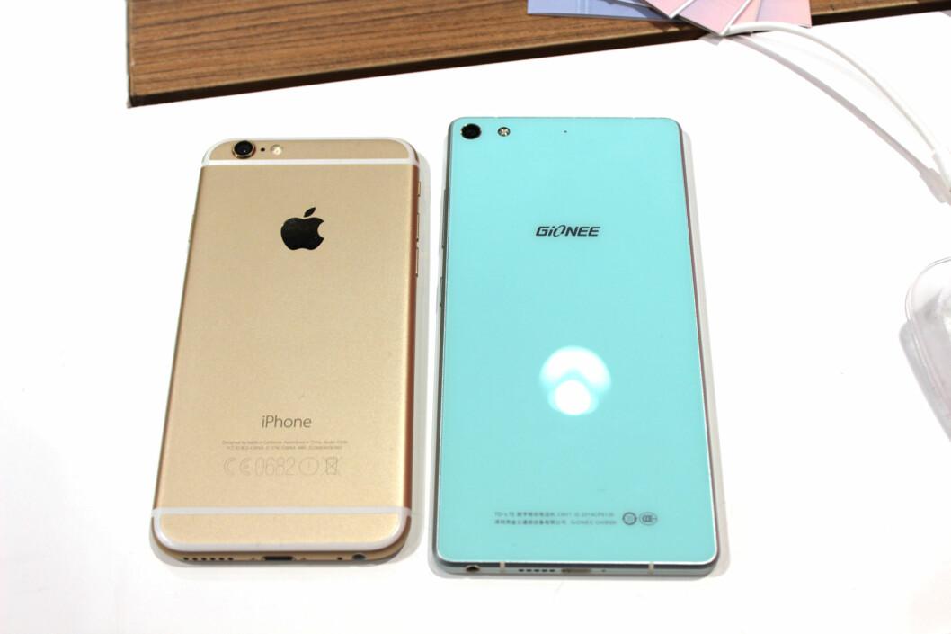 <strong><b>STØRRE ENN IPHONE:</strong></b> Elife S7 har en 5,2 tommers skjerm, mot iPhone 6 sine 4,7 tommer. Foto: KIRSTI ØSTVANG