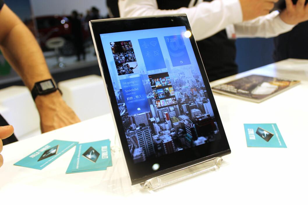 <strong><b>UNIKT OPERATIVSYSTEM:</strong></b> Jolla Tablet kjører Sailfish OS, det eneste europeiskproduserte operativsystemet for mobile enheter. Foto: KIRSTI ØSTVANG