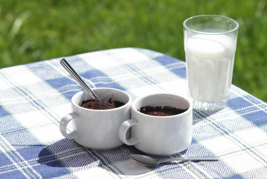 <strong><b>BROWNIES:</strong></b> Visste du at du kan lage brownies i mikroen? Her er superkjappe godbiter i en kopp, nybakte fra mikrobølgeovnen. Foto: KRISTINE MOLINA KJÆRSTAD