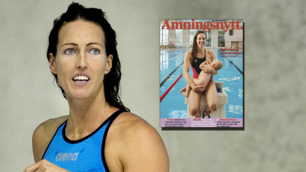 <strong>FÅR ROS:</strong> Den svenske svømmestjernen Therese Alshammar får ros for sitt bilde i svenske Amningsnytt. Hun satser videre på idrettskarrieren til tross for at hun nylig ble mor. Foto: NTB Scanpix/Faksimile Aminingsnytt