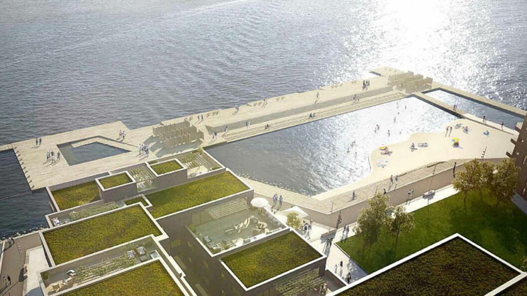 <strong>DRØMMEN:</strong>  Slik vil sjøbadet på Sørenga i Oslo ta seg ut, ifølge planene.