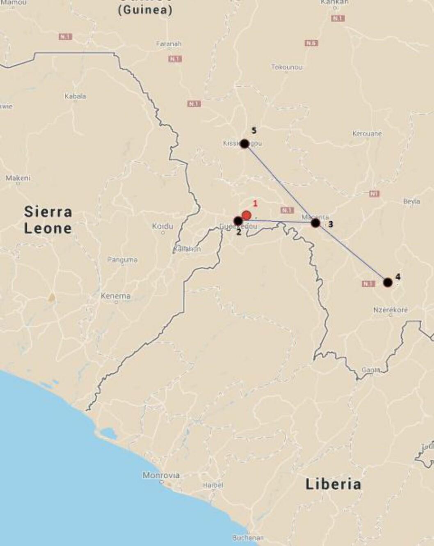 1. Meliandou En to år gammel gutt dør i landsbyen Maliandou 6. desember 2013. En uke etter, dør guttens mor. Så lillesøsteren, som bare ble tre år gammel. Deretter døde bestemoren.  2. Gueckedou Folk fra flere landsbyer møter opp i bestemorens begravelse. Ebola-sykdommen sprer seg til flere landsbyer. Landsbyens jordmor blir innlagt på sykehus i regionshovedstaden Gueckedou (2), og dør der 2. februar.  3. Macenta En helsearbeider fra Gueckedou dør på sykehuset i byen Macenta 10. februar, etter å ha vært syk i fem dager. En lege som behandlet ham, blir smittet. Legen dør.  4. Nzérékoré En slektning av legen fra sykehuset i Macenta dør i Nzérékoré 28. februar. 5. Kissidougou Legen begravelses i Kissidougou 24. februar. Ebola-viruset er mest smittsomt like før eller etter døden. 7. og 8. mars dør to av legens brødre i Kissidougou. Kilde: New England Journal of Medicine / New York Times, Foto: Google Maps