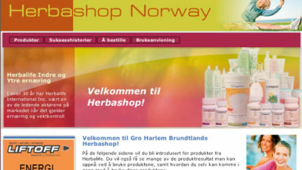 HERBASHOP: På denne siden ble navnet til Gro Harlem Brundtland misbrukt. Dette er skjermbildet Kapital brukte i saken sin. Skjermdump Herbashop / Kapital