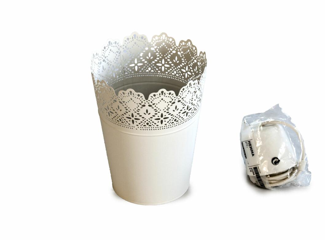 Endresen har brukt Skurar blomsterpotte (49 kroner) og Hemma lampeoppheng (30 kroner), begge deler fra Ikea. Foto: Erik Hannemann/Siv Endresen/Spetakkel Forlag