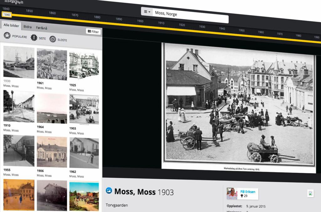<strong>GAMLE BILDER:</strong> Dette bildet viser Moss for hundre år siden. Foto: TIDSMASKINEN.NO