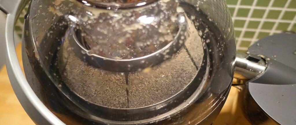 FILTER FØR: Selve filteret er dekket med et tynt lag frukt- og grøntpels. Det skyller du enkelt av. Foto: ELISABETH DALSEG