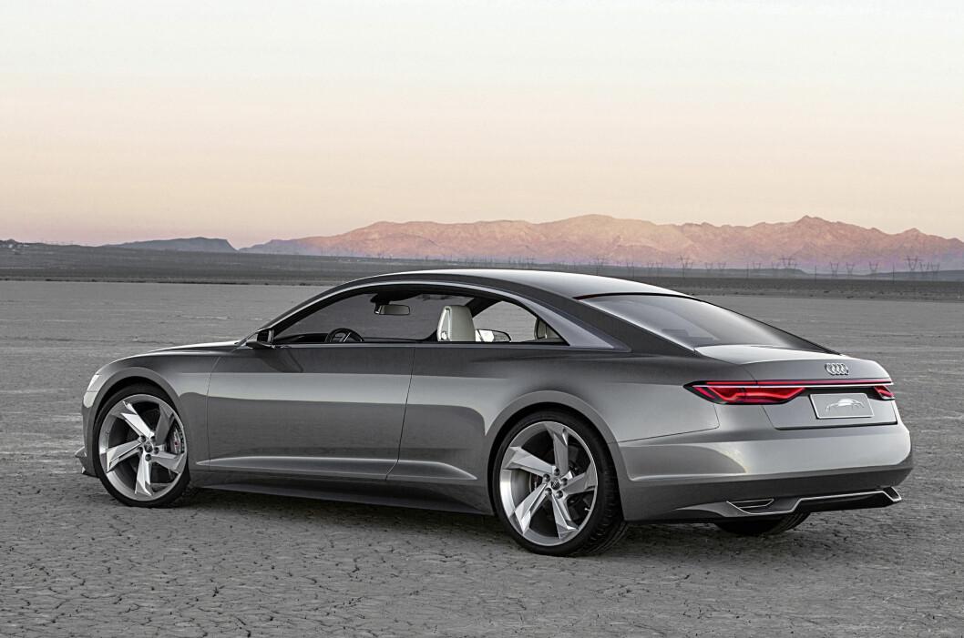 """<strong><b>REN ELEGANSE:</strong></b> Dette er oppfølgeren til konseptbilen Audi prologue (ja, med liten """"p""""). Luksusskallet tyder på de høyeste ambisjoner og teknologien følger opp. I siktet: Mercedes-Benz S-klasse Coupé. Foto: AUDI"""