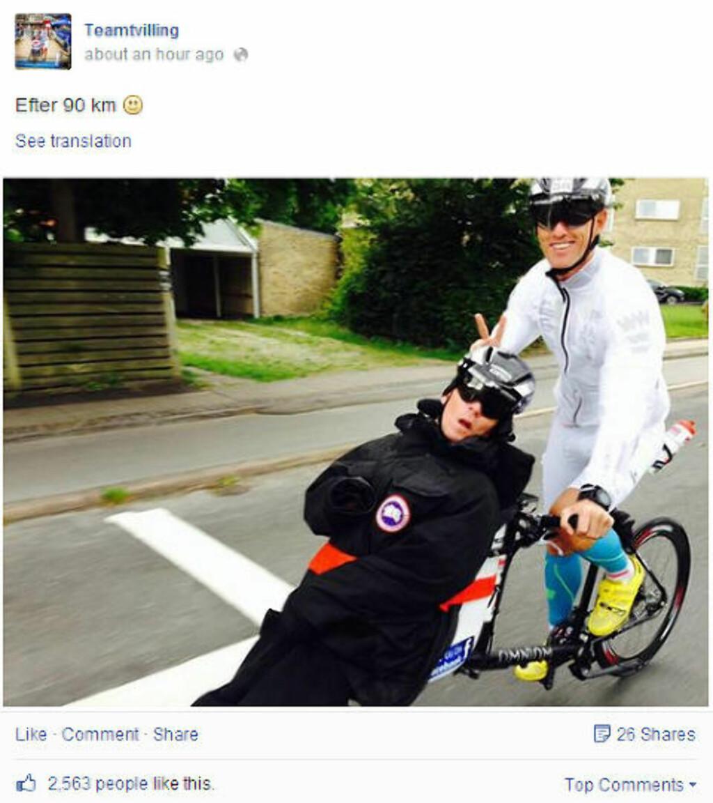 UNDERVEIS: På Facebooksiden til tvillingene blir det lagt ut oppdateringer underveis. Foto: Facebook