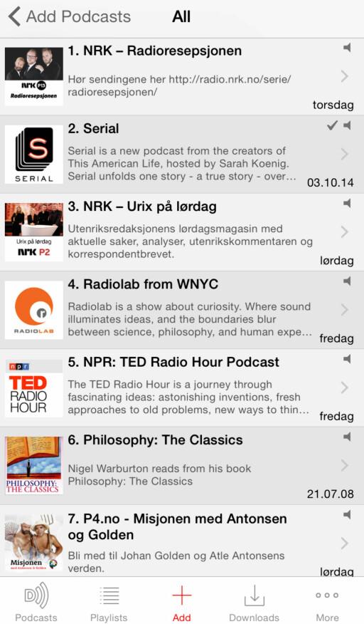 DOWNCAST: Er ikke en veldig minimalistisk app, men er fortsatt ganske lett å forholde seg til.  Foto: KIRSTI ØSTVANG