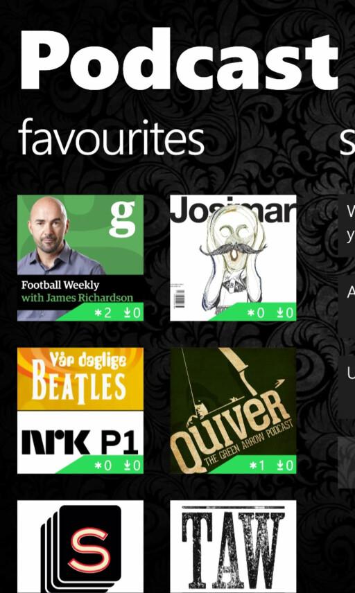 PODCAST LOUNGE: På beste Windows Phone-vis kan du også feste favoritt-podkastene dine som fliser på hjemskjermen. Foto: KIRSTI ØSTVANG