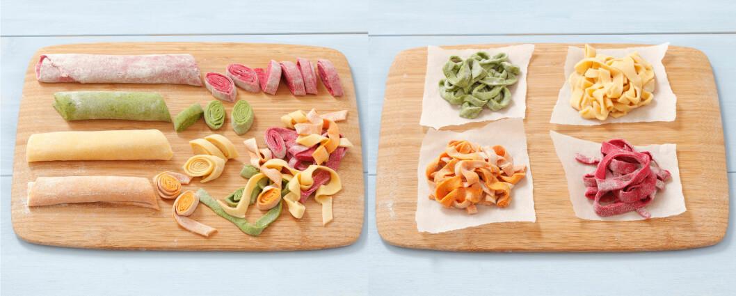 <strong><b>MED KJEVLE OG KNIV:</strong></b> Kjevl ut pastadeigen, strø lett over med mel (bruk gjerne en god sikt) og rull sammen. Skjær skiver med kniv. Når du har kuttet til all pastaen, nøster du rullene forsiktig ut, slik at de ikke koker sammen i en klump. Du kan også med fordel la dem henge til tørk over et kosteskaft eller lignende.  Foto: ALL OVER PRESS