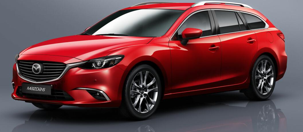 <strong><b>FORSIKTIGE ENDRINGER:</strong></b> Nye lykter og ny grill er blant hovedendringene på nye Mazda 6. Foto: Mazda