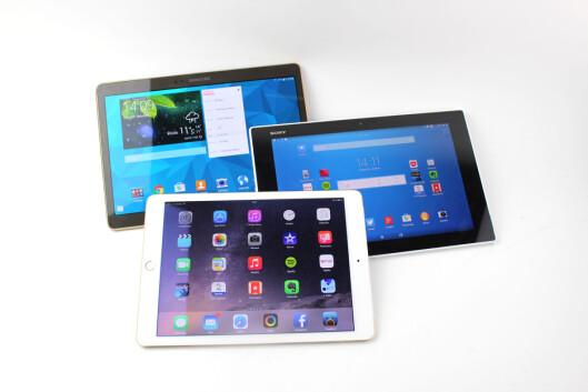 <strong>DOMINERER:</strong> Samsung, og Apple dominerer på nettbrettfronten, her flankert av Sony, som også markerer seg med gode brett om dagen. Foto: KIRSTI ØSTVANG