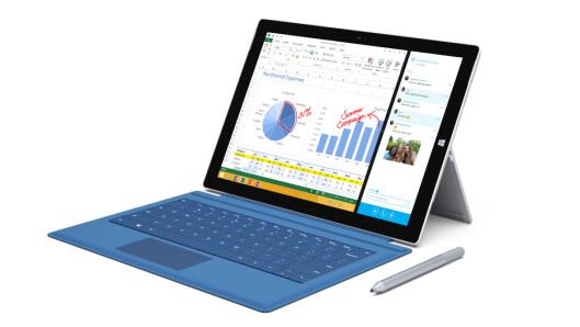 <strong>MIDT I MELLOM:</strong> Mange nettbrett kan kobles til såkalte tastaturdeksler, som Microsoft Surface Pro 3. Dermed er ikke avstanden til å bli en fullverdig PC særlig stor. Foto: MICROSOFT