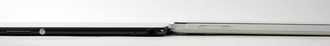 <strong><strong>TYNT:</strong></strong> Her ser du Sonys nettbrett ved siden av Samsung Galaxy Note 4. 6,4 mm gjør Z3 Tablet Compact til ett av de tynneste nettbrettene. Foto: PÅL JOAKIM OLSEN