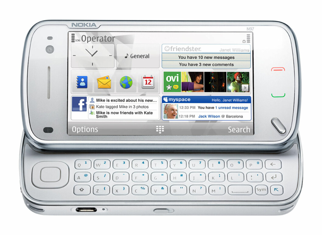 <strong><b>NOKIA N97:</strong></b> Kjørte Nokias Symbian-operativsystem, som aldri ble noen stor suksess.  Foto: NOKIA