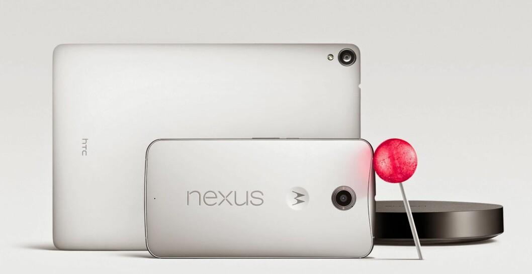 <strong><b>I SALG I NOVEMBER:</strong></b> Nye Nexus 9 er produsert av HTC, mens Nexus 6 er produsert av Motorola. Begge skal komme i salg i november.  Foto: GOOGLE/HTC