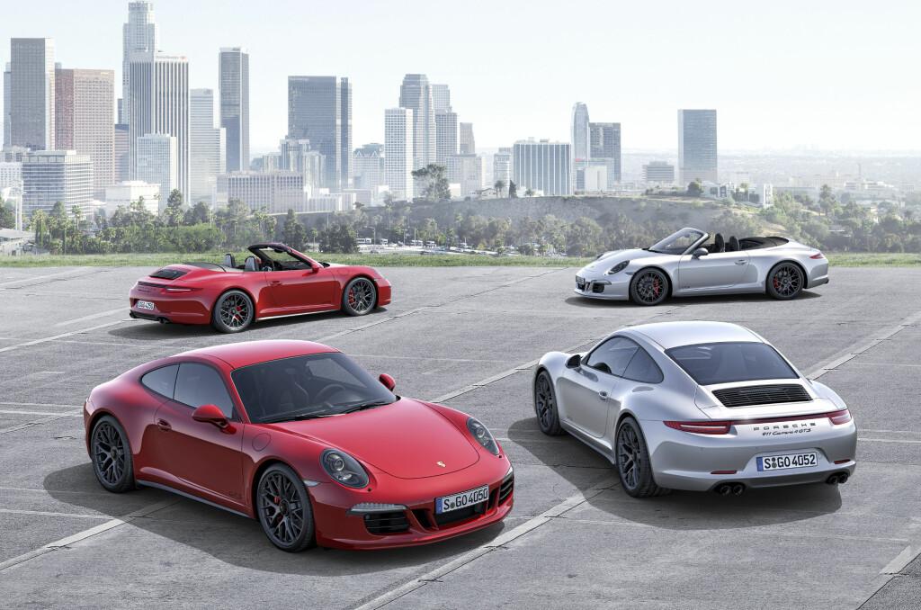 <b>FIRE NYE:</b> Med nye GTS med og uten firehjulsdrift og med og uten tak, og økes antall 911-versjoner av 991-generasjonen til totalt 17, hvis vi har telt riktig: 12 Carrera-versjoner (inklusiveGTS), to Targa, Turbo, Turbo S og GT3. Foto: PORSCHE