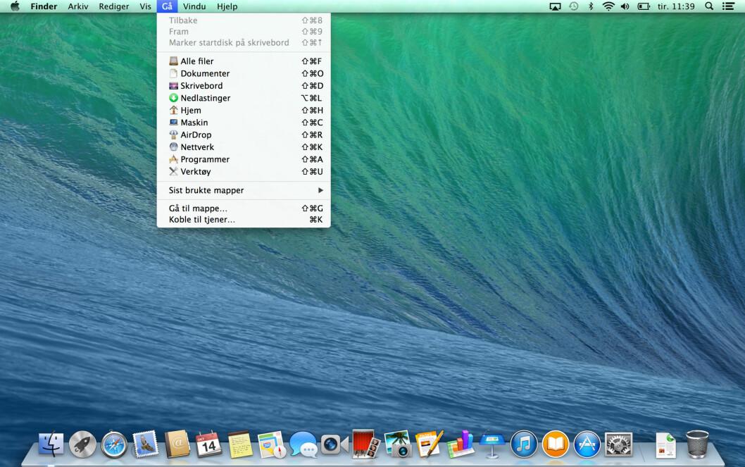 <strong><b>MAVERICKS:</strong></b> Slik så skrivebordet ut i OS X 10.9. Legg merke til den relativt fargerike menyen og docken som ser ut som en glasshylle. Foto: KIRSTI ØSTVANG